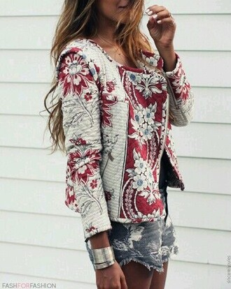 jacket red coat coat cardigan girlygirl romantic flowers hippie perfecto