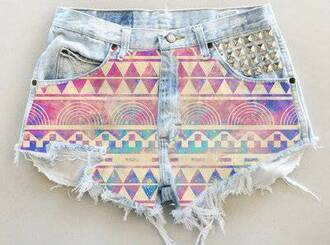 shorts girl's clothes aztec beautiful blue pink studded summer hipster high waist deni studs gold colourful denim shorts aztec short high waisted shorts ripped shorts jeans pants aztec shorts aztec shorts studs cute high waisted ripped tribal print summery adorable cut off shorts short purple azteque