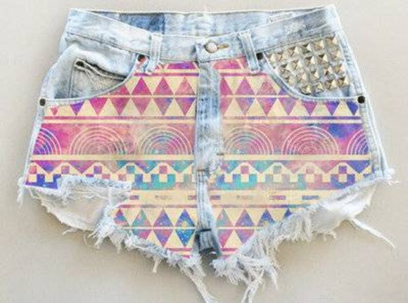 shorts aztec short colourful denim shorts aztec girl's clothes beautiful blue pink studded summer hipster high waist deni studs gold high waisted short aztec print ripped shorts jeans pants aztec shorts aztec shorts studs