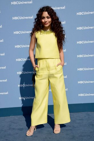 pants top yellow neon vanessa hudgens sandals two-piece blouse shoes yellow pants
