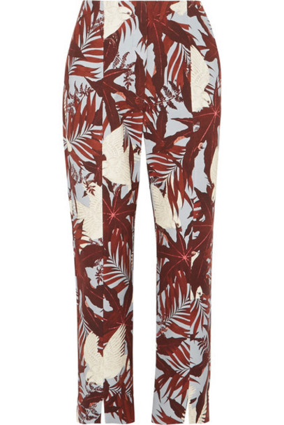 Erdem pants cropped cotton burgundy