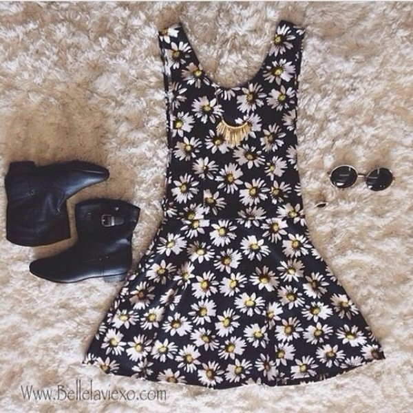 dress daisy floral black little black dress flowers
