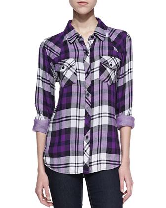 Rails Kendra Plaid Button-Down, Purple - Neiman Marcus