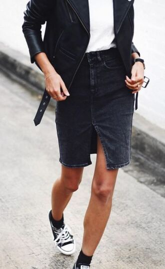 skirt black skirt denim skirt casual leather jacket converse front slit skirt front slit slit skirt pants midi black perfecto white top rock outfit street style chuck taylor all stars
