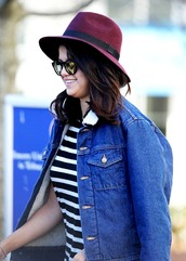 jacket,denim jacket,hat,top,stripes,selena gomez