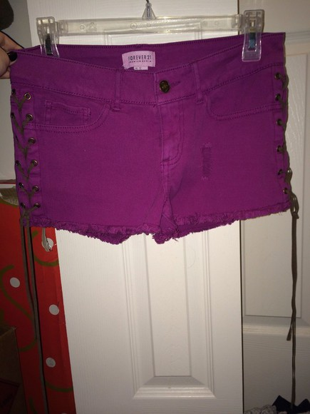 purple shorts forever 21 distressed shorts