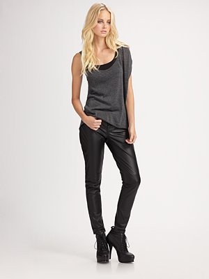 Blank Denim - Cropped Leather Skinny Jeans - Saks.com