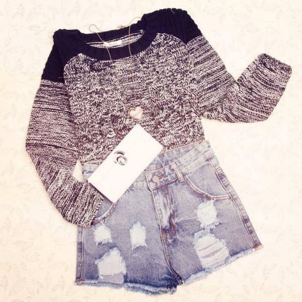 blouse denim denim shorts sweater high waisted denim shorts