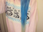 sweater,super,cute,jumper,pink,pastel,goth,blue,cats,kawaii,hair,pretty,lovely,girly,cardigan,animal,black,white,blouse,jacket,coat,light,dark,loose,baggy,long,short,nice,pale,baby