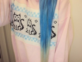 sweater super cute jumper pink pastel goth blue cats kawaii hair pretty adorable girly cardigan animal black white