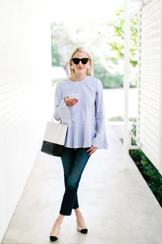 luella & june blogger jewels jeans bag shoes bouse blouse light blue white bag skinny jeans cropped jeans flats bell sleeves