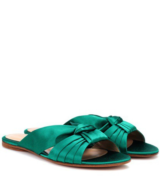Gianvito Rossi sandals satin green shoes