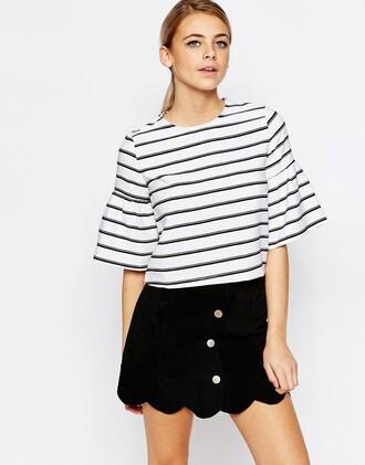 top bell sleeves stripes three-quarter sleeves