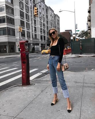 jeans tumblr patchwork blue jeans shoes pumps top black top bag sunglasses