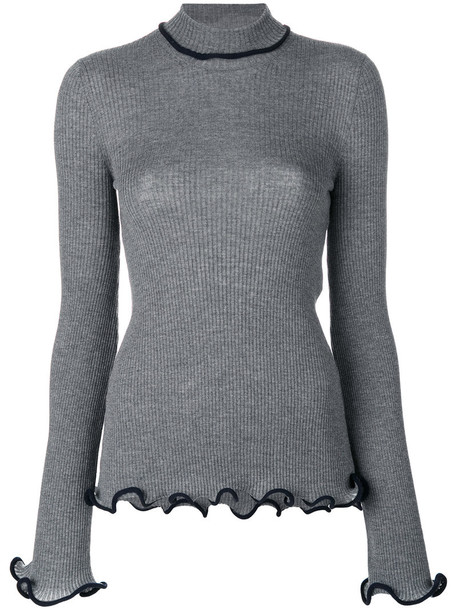 Stella McCartney - ruffle trimmed turtleneck knit - women - Cotton/Wool - 40, Grey, Cotton/Wool