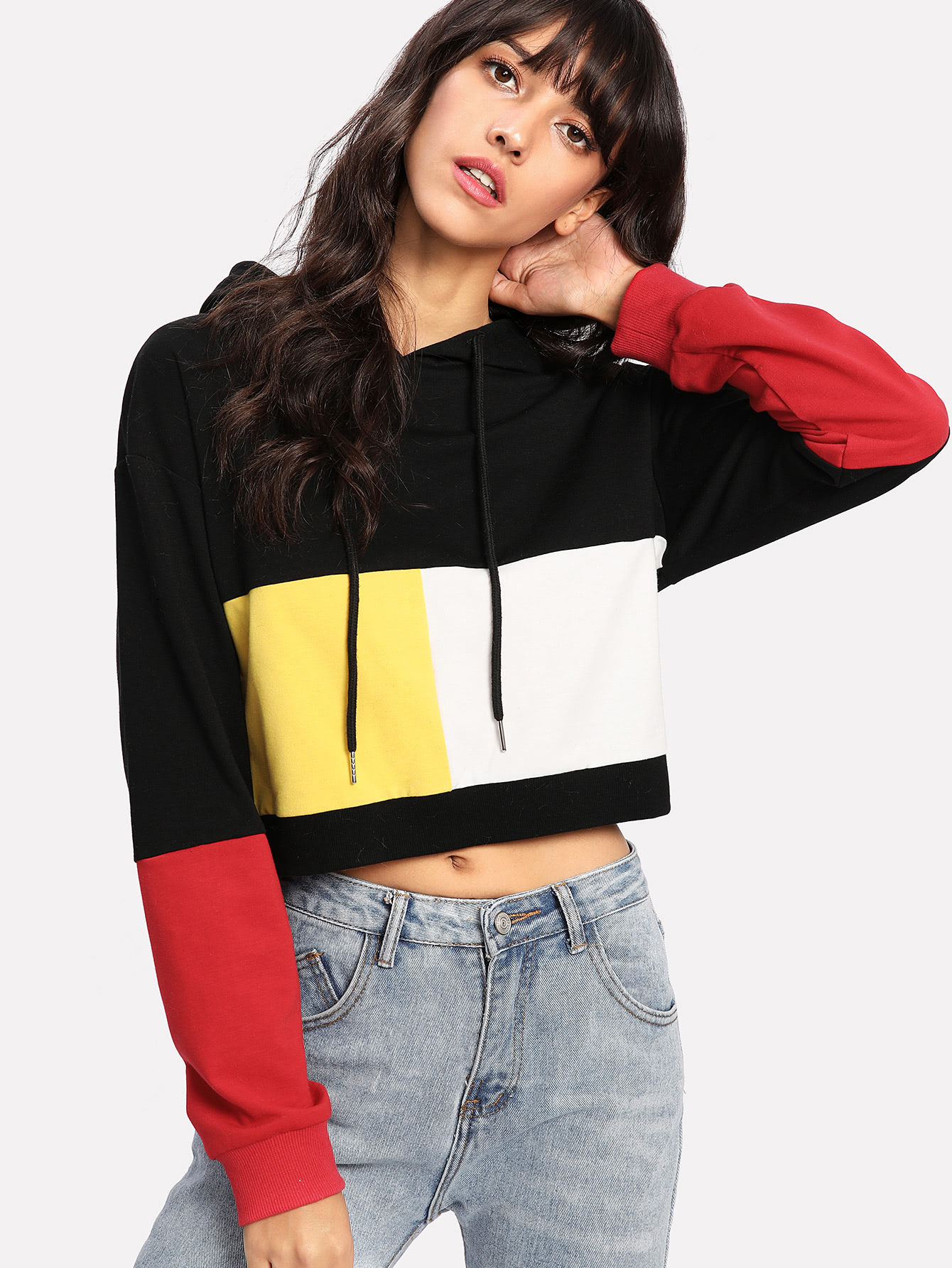 Cut And Sew Crop Hoodie -SheIn(Sheinside)