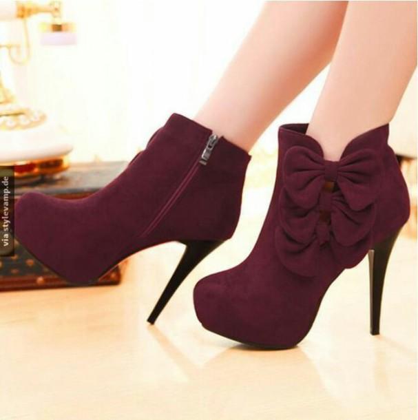 shoes bordeau high heels bow high heels bow shoes bows burgundy maroon/burgundy