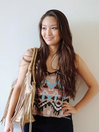 sensible stylista blogger bag aztec sequins fringed bag top jacket