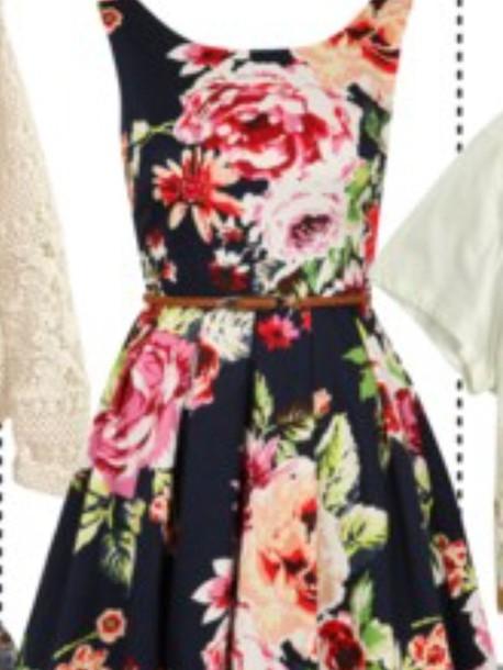 dress black floral dress cardigan