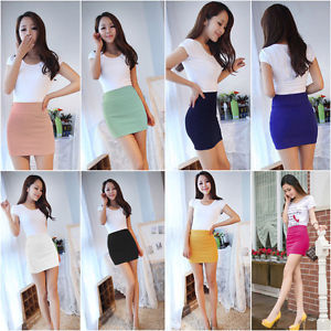 Casual Solid Elastic Mini Skirt Seamless Stretch Tight Short U Pick | eBay