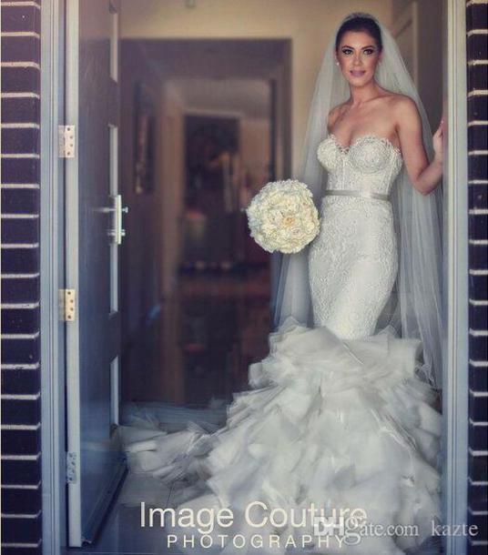 dress wedding dress mermaid wedding dress ruffles train wedding gown cathedral train bridal dress bridal dress