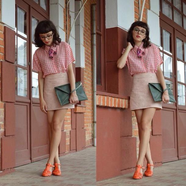 skirt style outfit nerd cute shirt glasses handbag high heels