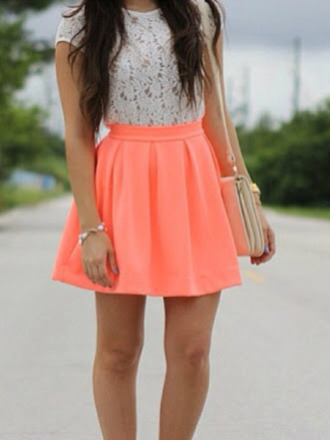 skirt neon skirt pinkish pink cute summer want poof neon orange high waisted blouse crochet skater skirt shoulder bag jewels heels dress shirt whit lace pink and white coral dress coral white lace top t-shirt crop tops