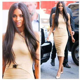 dress nude dress bodycon dress belt buckles midi dress
