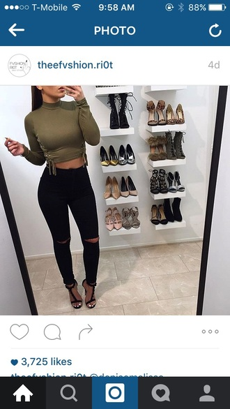 top olive green green shirt long sleeves crop-top