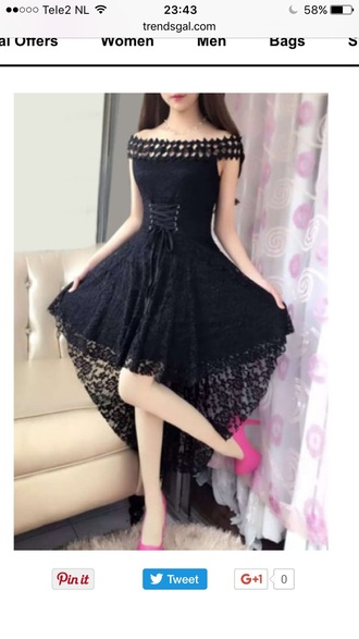 dress summer lace dress black dress fashion style maxi dress asymmetrical trendsgal.com