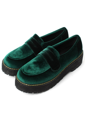 shoes,glossy,velvet,creeper,loafers,green