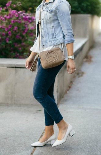 life & messy hair blogger top bag jewels sunglasses shoes denim jacket gucci bag crossbody bag skinny jeans white shoes mid heel pumps spring outfits