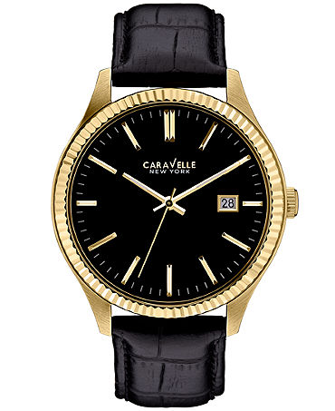 Caravelle New York by Bulova Men's Black Croc-Embossed Leather Strap Watch 41mm 44B106 - Watches - Jewelry & Watches - Macy's