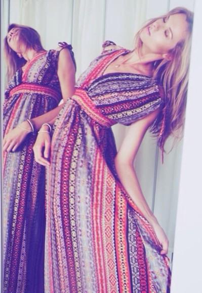 pattern tribal pattern floor length dress patterned dress boho dress hipster