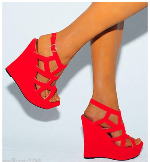 Ladies Bright RED Cutout Suede Wedges Wedges Summer Strappy