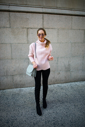 katie's bliss - a personal style blog based in nyc blogger sweater turtleneck sweater pink sweater shoulder bag boots thigh high boots winter outfits pants