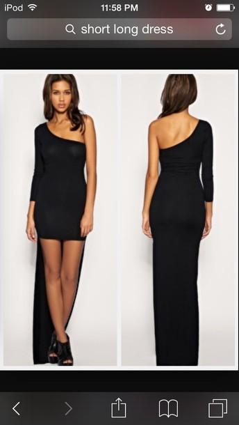 dress black short log drees