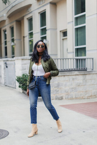 millennielle blogger jacket bag bomber jacket green bomber jacket white top high waisted jeans chanel chanel bag cropped jeans nude boots boots weekend outfits streetwear topshop levi's fall outfits