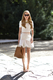 oh my vogue,sweater,skirt,shoes,bag,sunglasses,jewels,nail polish,all white everything,crop tops,white skirt,white top,leather,leather bag,jewelry,high waisted,white,white dress