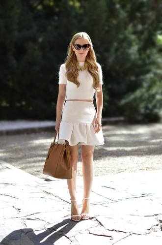 oh my vogue sweater skirt shoes bag sunglasses jewels nail polish all white everything crop tops white skirt white top leather leather bag jewelry high waisted white white dress