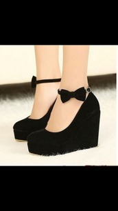 shoes,black shoes,black wedges,girly,high heels,bow high heels,bows,flatforms