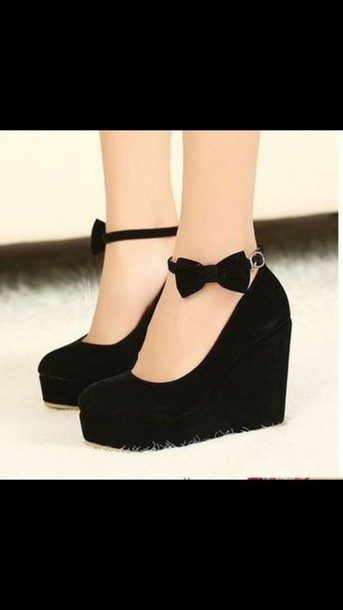 shoes black shoes black wedges girly high heels bow high heels bows