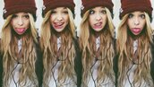 hat,girl,burgundy,knit,neff,neff klaus beanie,beanie,acacia brinley