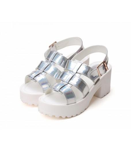 Holographic Silver White Platform Roman Heel Sandals