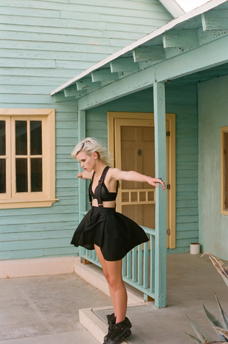underwear nastygal lookbook leather bra leather skirt skirt with suspenders black leather skirt shoes