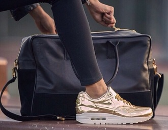 shoes sneakers air max gold pretty chick