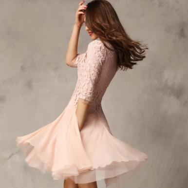 Autumn Western Elegant Lace Montage Women Dress Pink White Deep Blue