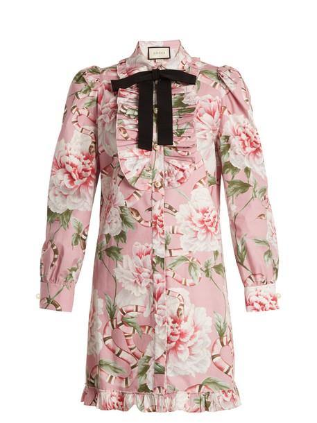 gucci shirtdress floral cotton print pink dress
