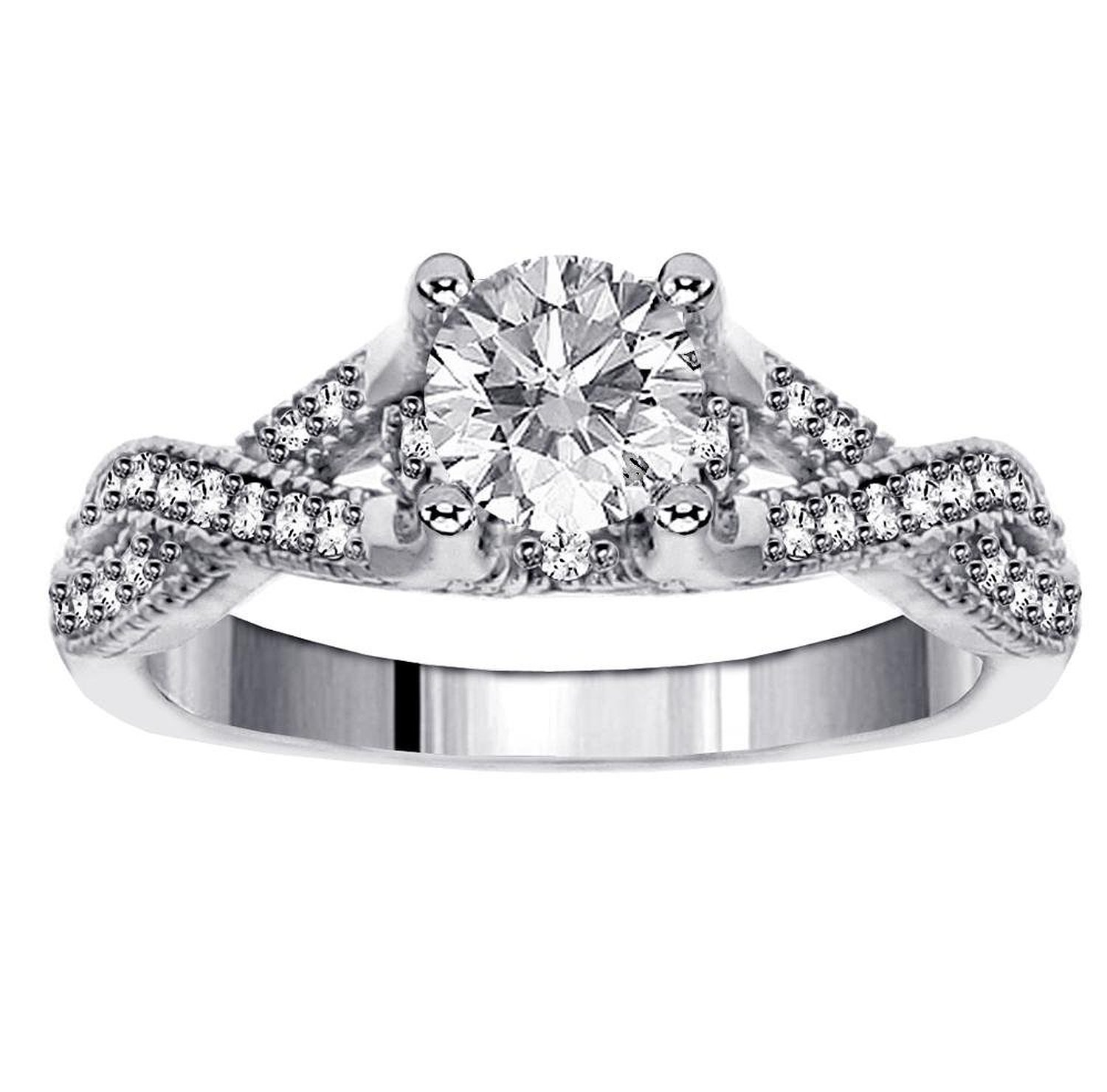 Amazon: 100 Ct Tw Brilliant Cut Diamond Encrusted Braided Engagement  Ring In Platinum: Jewelry