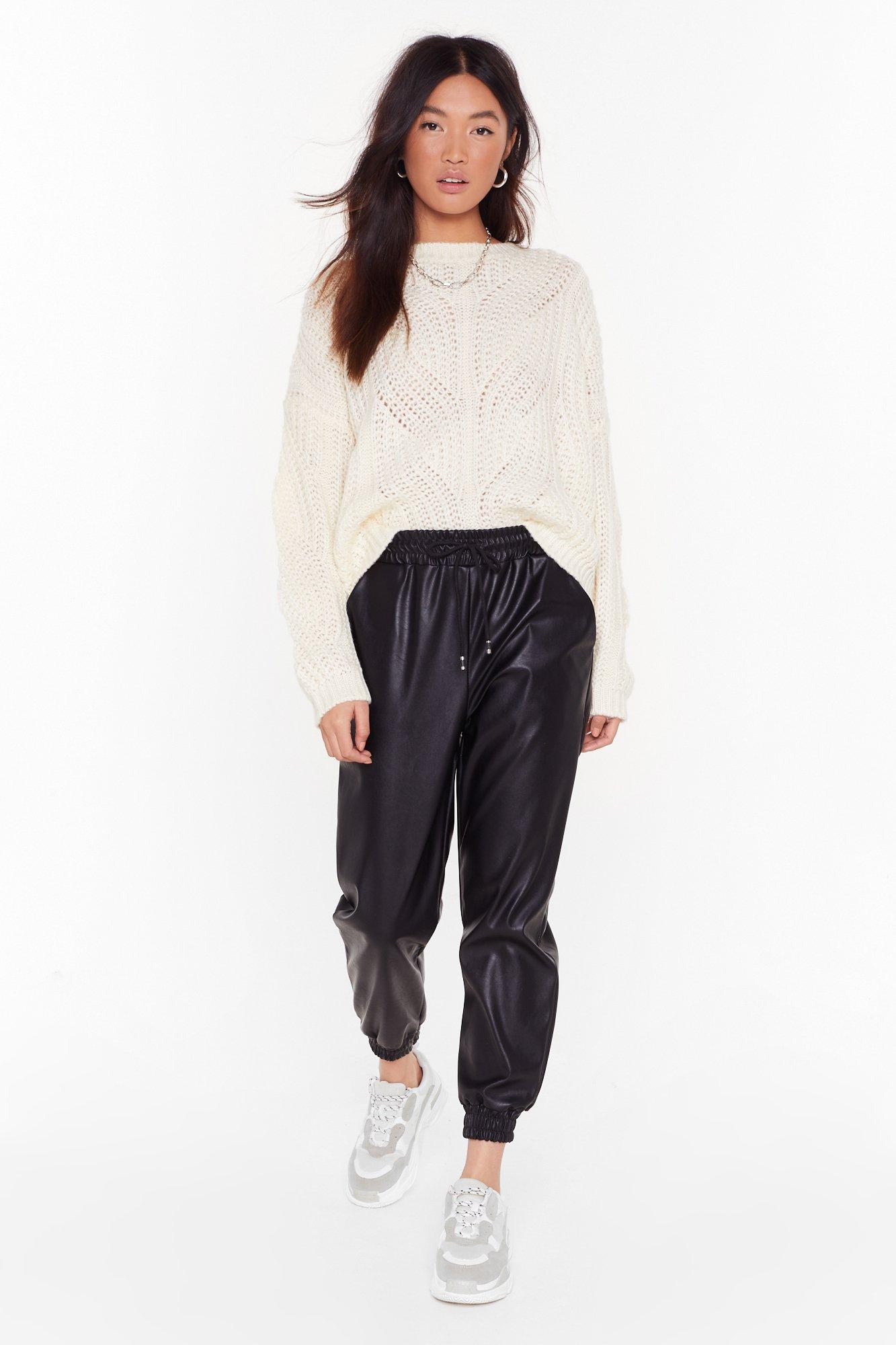 Jog My Mind Faux Leather Jogger Pants | Nasty Gal